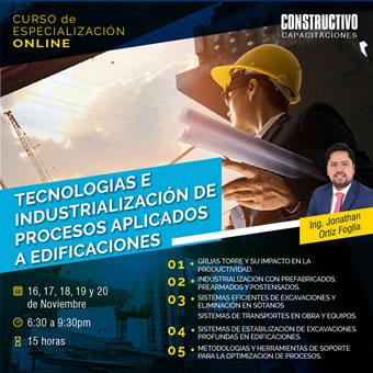 CURSO de ESPECIALIZACIÓN ONLINE Tecnologías e Industrialización de Procesos aplicado a Edificaciones