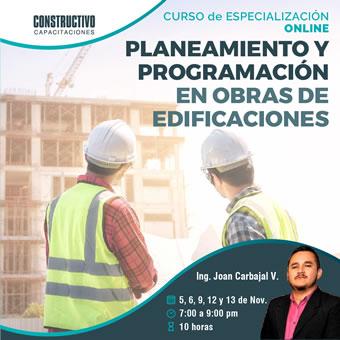 CURSO de ESPECIALIZACIÓN ONLINE Planeamiento y programación en obras de edificaciones