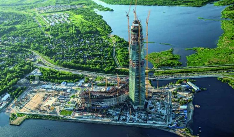 El rascacielos más alto de Europa en el Centro de Lakhta, San Petersburgo