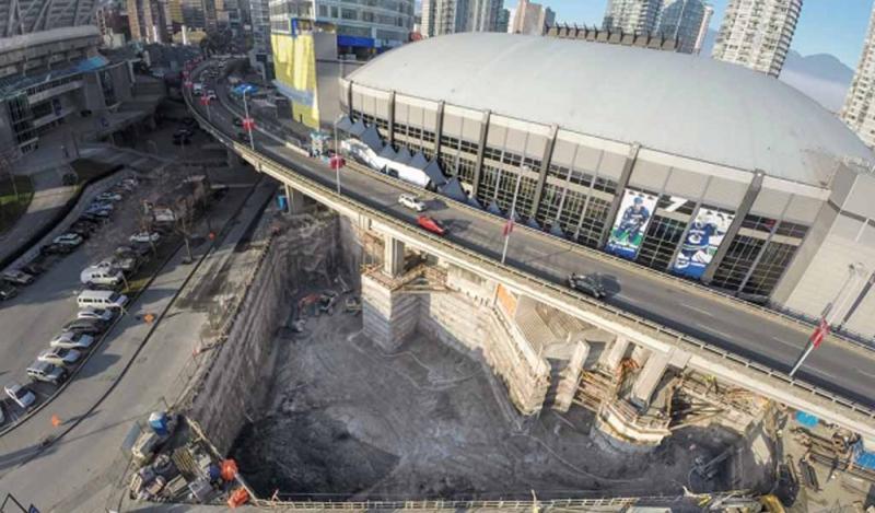 Estabilización de la excavación de la Rogers Arena South Tower, Vancouver