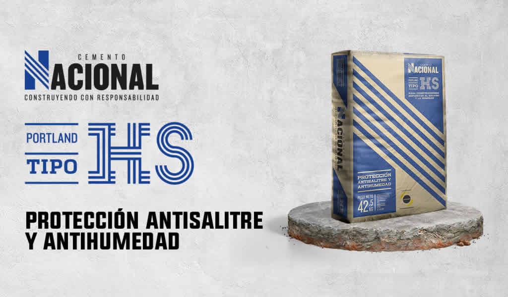 Cemento Nacional tipo HS, protección antisalitre y al medio ambiente